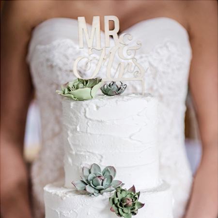 bruidstaart met mini vetplantjes